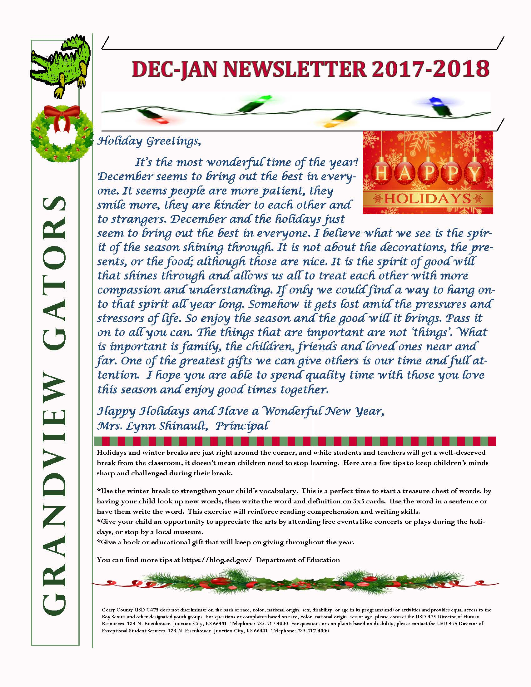 December newsletter pg. 1