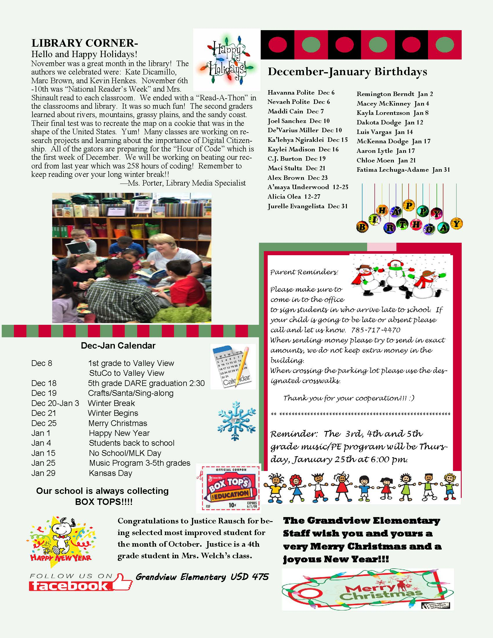 December/January Newsletter page 2