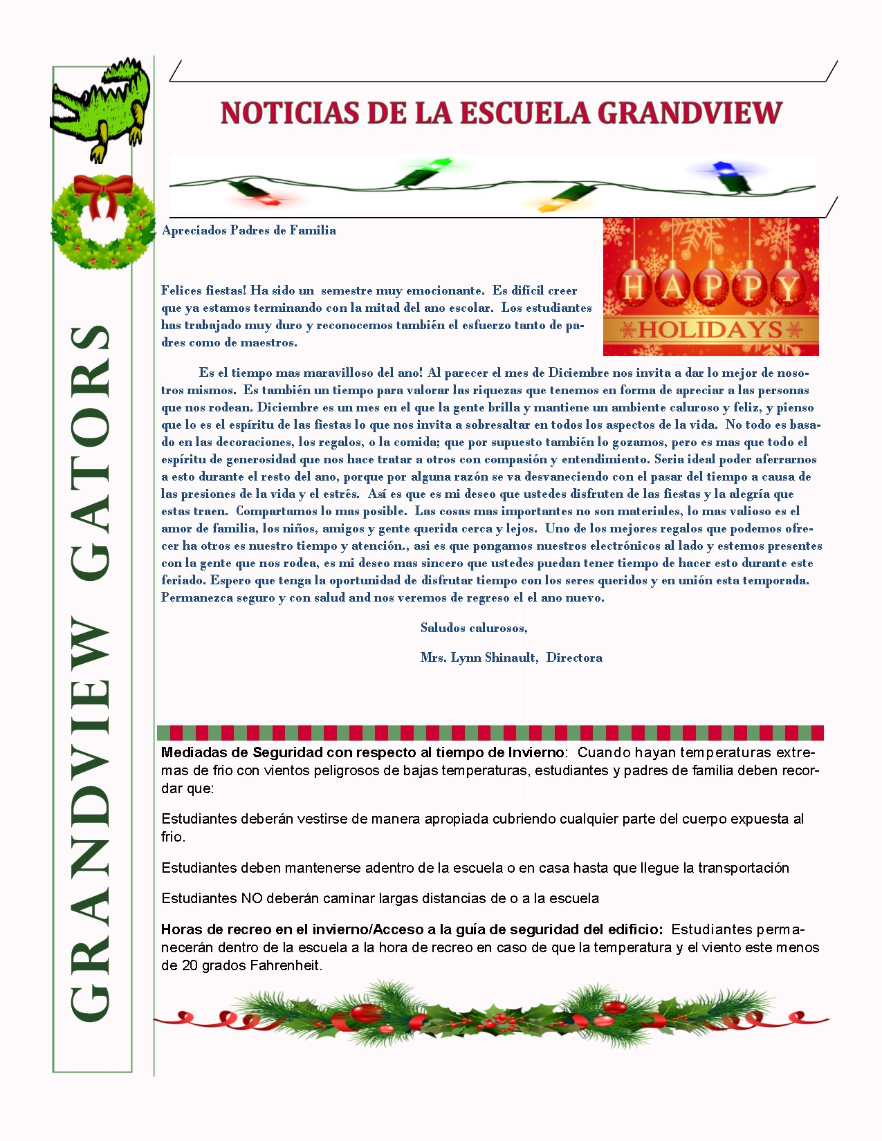 Spanish newsletter see document belpw