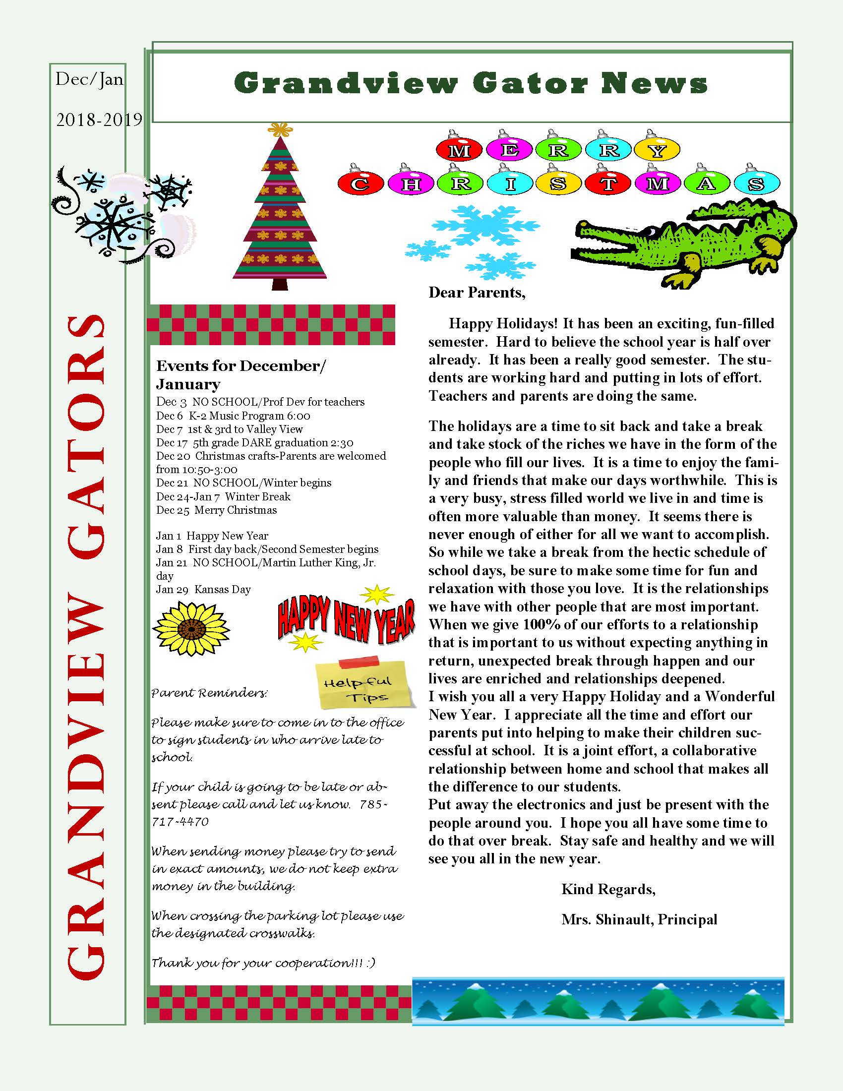 December January Newsletter Grandview Elementary Well, my parents usually read modern novels. grandview elementary usd 475