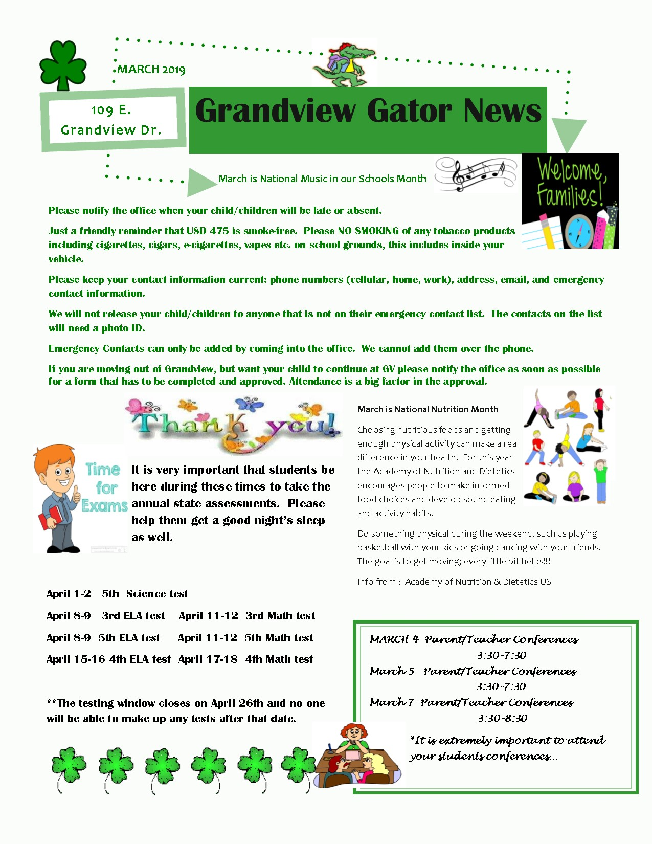 March Newsletter information below