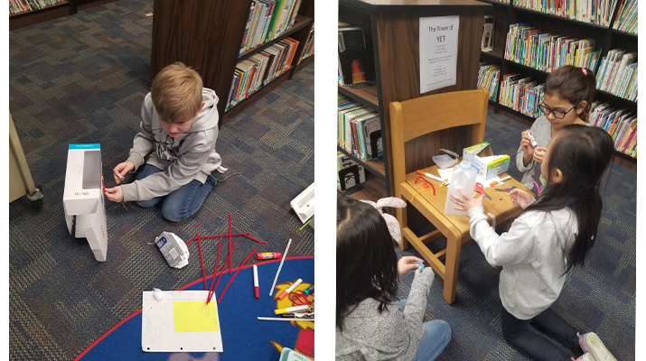 3rd grade student's building bunny traps.