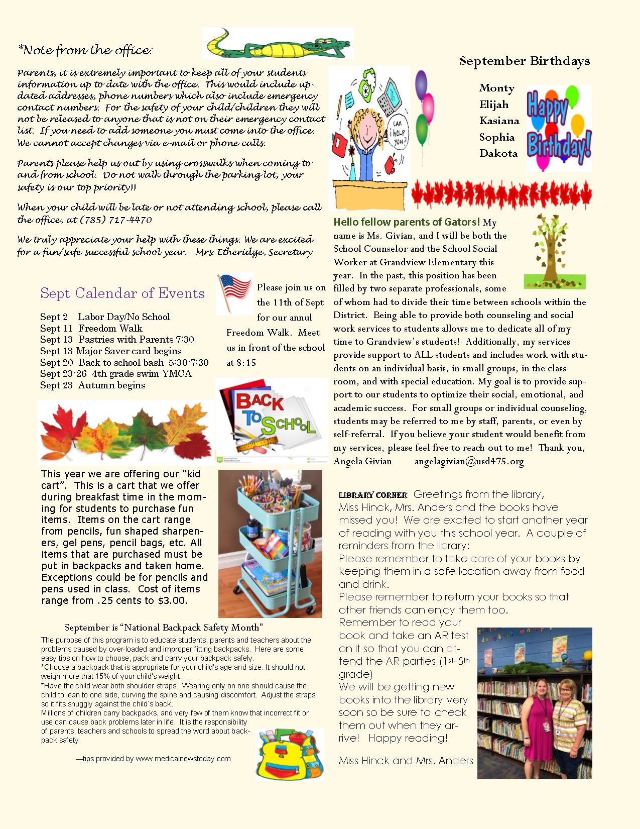 September Newsletter...please see text below.