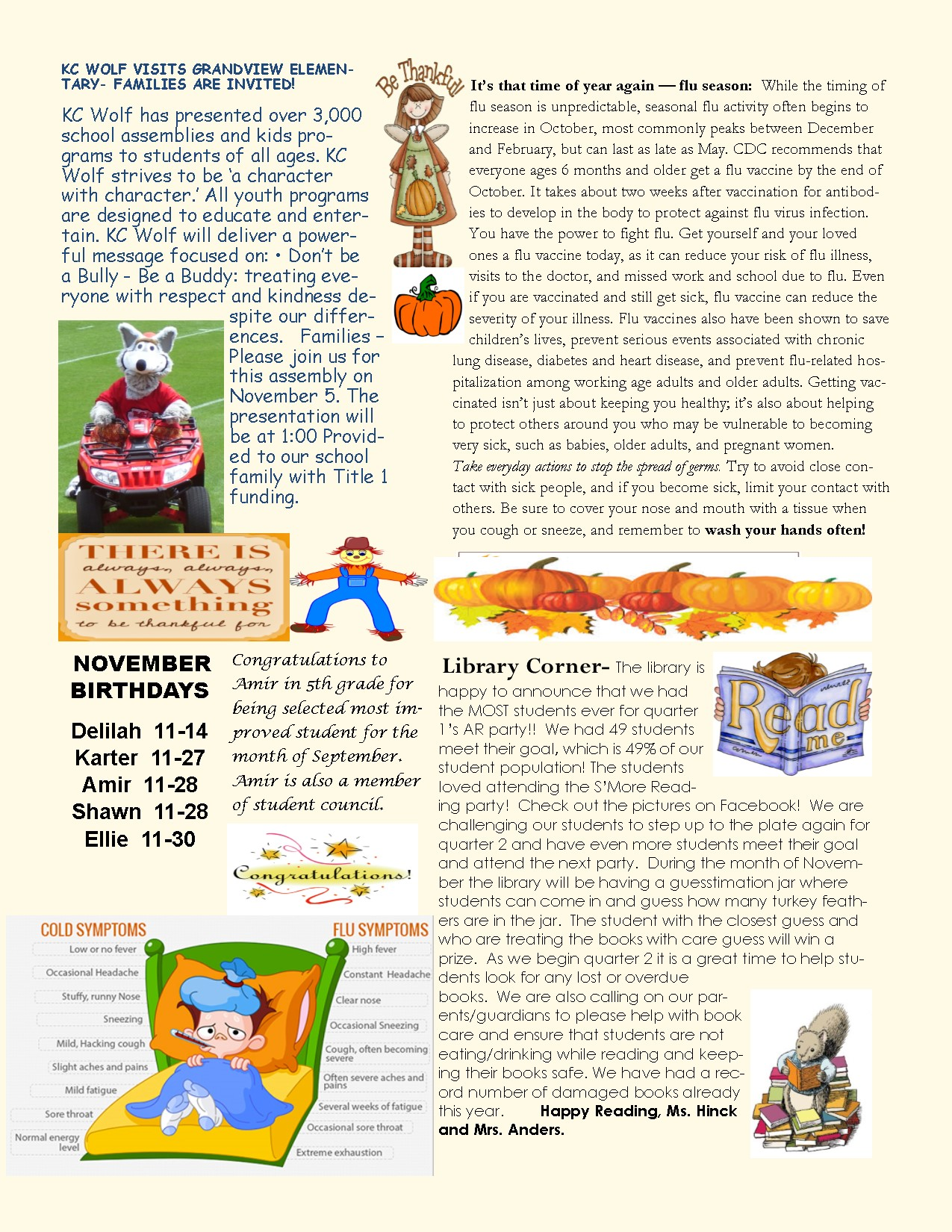 November newsletter: see attached information