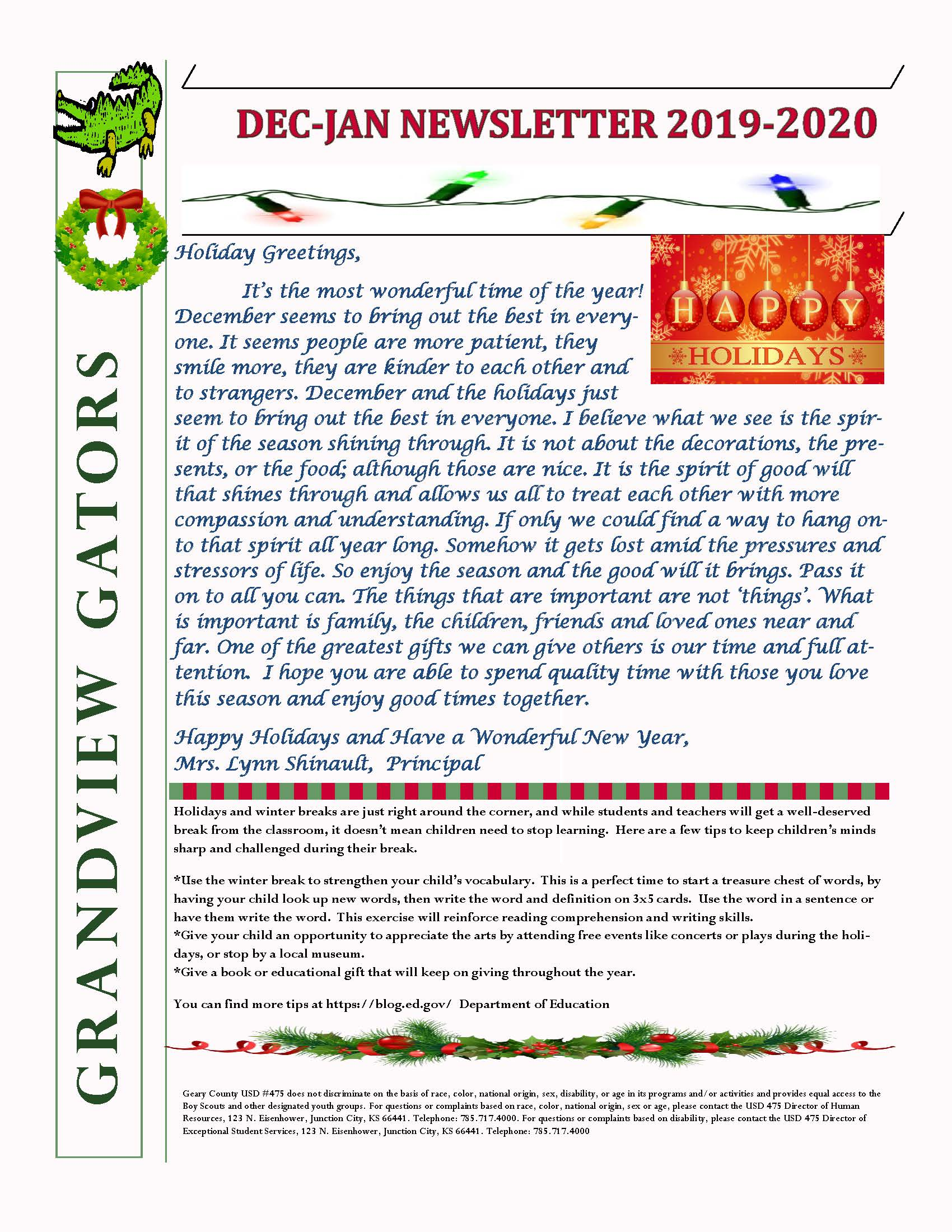 December/January newsletter...see attached text